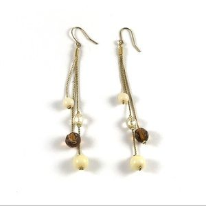 Gold Tone Vintage Dangle Beaded Earrings